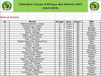 Calendrier CAN 2015