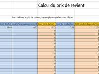 Prix de revient Excel
