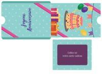 Pochette carte cadeau thème anniversaire