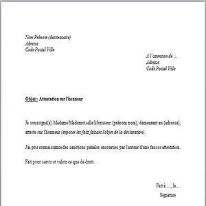 Telecharger Modele De Declaration Sur L Honneur Gratuit Le