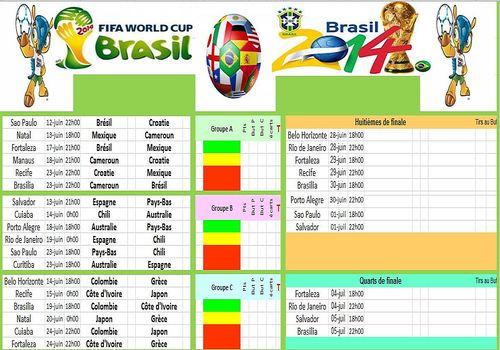 Telecharger Calendrier Coupe du Monde Brésil 2014