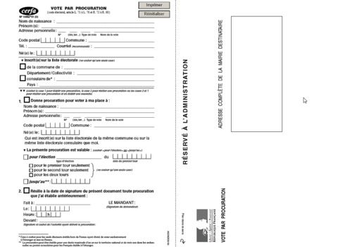 Telecharger Formulaire Procuration de vote