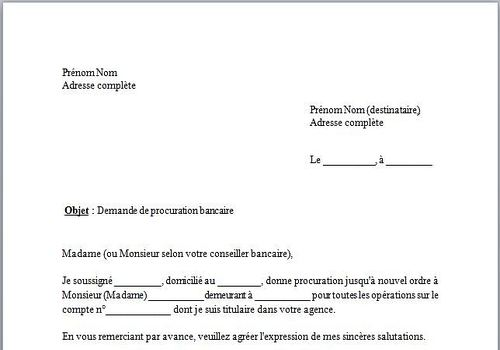 exemple de lettre de procuration