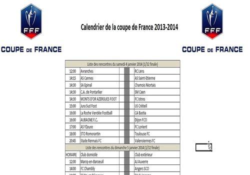 Telecharger Calendrier Coupe de france de Football 2014