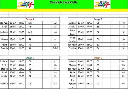 Telecharger Calendrier Coupe du Monde 2014