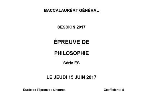 Telecharger Sujet Bac 2017 Philosophie - Série ES