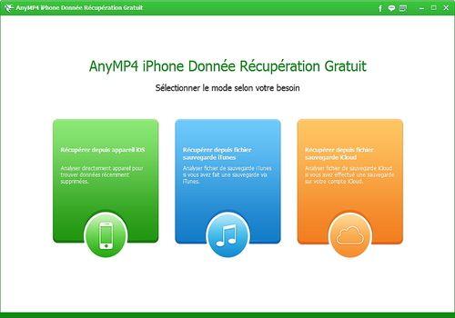 Telecharger AnyMP4 iPhone Donnée Récupération Gratuit