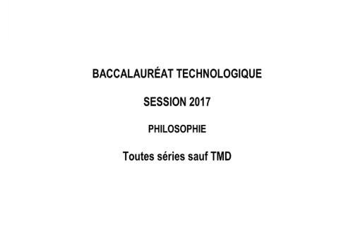Telecharger Sujet Bac 2017 Philosophie - Séries Technologiques
