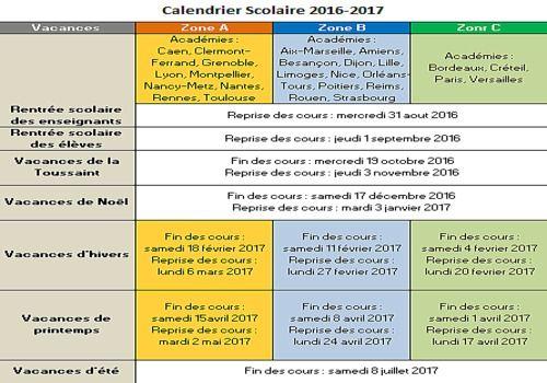 Telecharger Calendrier Vacances Scolaires 2016-2017