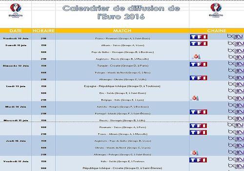 Telecharger Calendrier de diffusion de l'Euro 2016