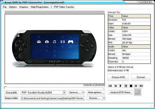 Telecharger Avex DVD to PSP Converter