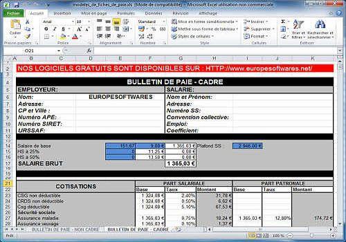 Telecharger Modèle de fiches de paie cadre et non cadre