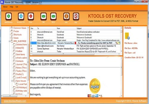 Telecharger KTools OST to PST Converter