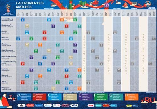 Telecharger Calendrier de la Coupe du monde 2018 à imprimer