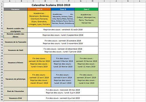 Telecharger Calendrier Vacances Scolaires 2018-2019