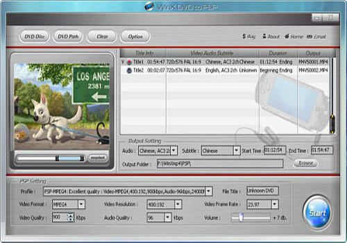 Telecharger WinX Free DVD to PSP Ripper
