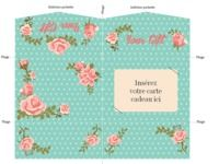 Pochette carte cadeau motif roses