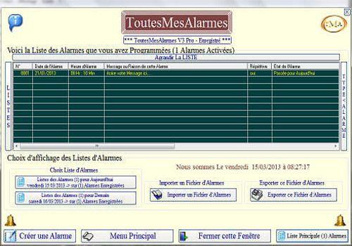 Telecharger ToutesMesAlarmes V3Pro 3.1.0.180 2013