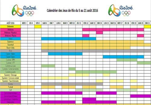 Telecharger Calendrier des JO de Rio 2016