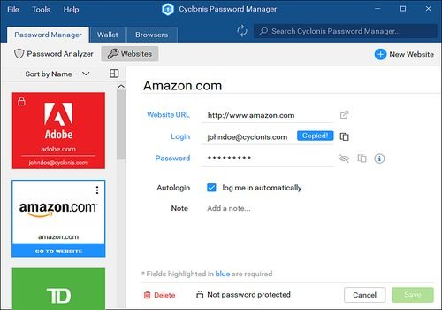 Telecharger Cyclonis Password Manager