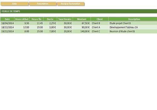 Telecharger Feuille de Temps Excel