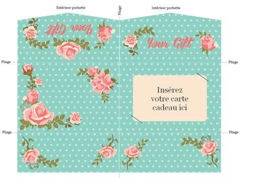 Telecharger Pochette carte cadeau motif roses