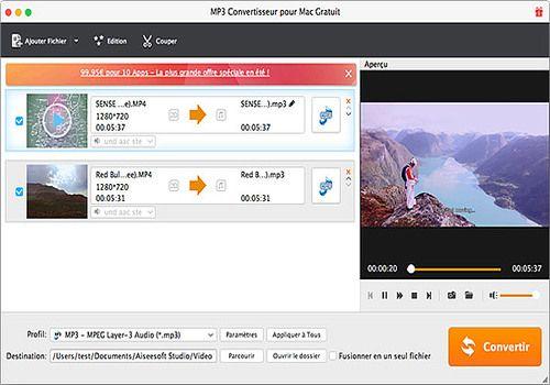 Telecharger Aiseesoft MP3 Convertisseur pour Mac Gratuit