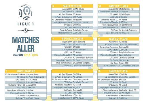Telecharger Calendrier officiel Ligue 1 2015/2016