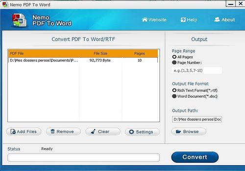 Telecharger Nemo PDF to WORD