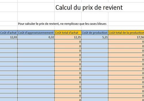 Telecharger Prix de revient Excel