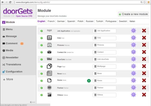 Telecharger doorGets CMS PHP / Mysql OpenSource