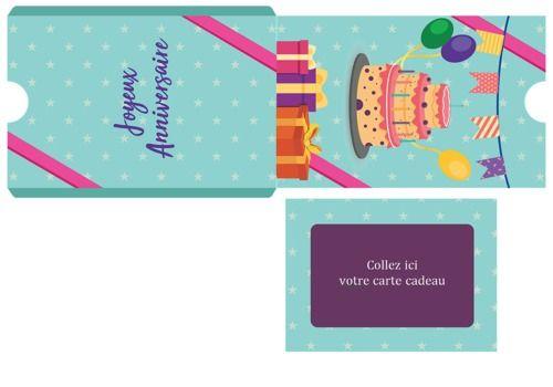 Telecharger Pochette carte cadeau thème anniversaire