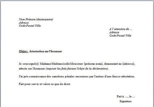 Telecharger Modele De Declaration Sur L Honneur Gratuit Le Logiciel Gratuit